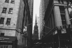 Alleyway in New York shot in black and white royalty free stock photography