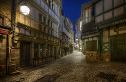 Alleyway at night on Mont Saint Michel Royalty Free Stock Images