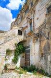 alleyway Sassi van Matera Basilicata Italië stock foto's