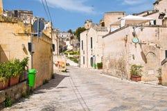 alleyway Sassi van Matera Basilicata Italië stock afbeelding