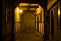 Alleyway in the town of Quedlinburg at night, Germany Stock Photography