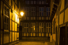 Alleyway in the town of Quedlinburg at night, Germany Royalty Free Stock Image