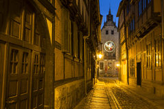 Alleyway in the town of Quedlinburg at night, Germany Stock Photo