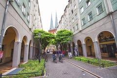 Alleyway w centre stary miasto w Berlin fotografia stock