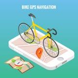Allez à vélo l'affiche de concept de navigation de ville dans le style isométrique de vecteur Vélo sur un écran de téléphone port Image libre de droits