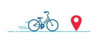 Allez à vélo la course, marathon dans la ligne style, concept d'écologie illustration libre de droits