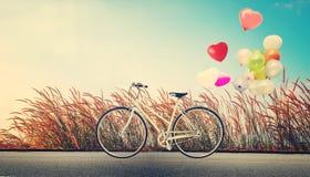 Allez à vélo le vintage avec le ballon de coeur sur le gisement de fleur sauvage et le ciel bleu Photo libre de droits