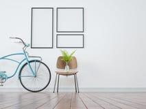 Allez à vélo les cadres, vases et les chaises dans blanc nettoient illustration de vecteur