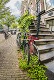 Allez à vélo sur la rue d'Amsterdam, Hollande, l'Europe Photographie stock