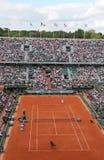Allez au devant de Philippe Chatrier chez Le Stade Roland Garros pendant le match de Roland Garros 2015 Images stock