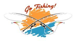 Allez pêcher l'emblème Photos stock