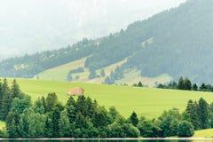 Allgäu meaddow. Landscape from lake forggen over allgäu meaddows with wooden hut stock photos