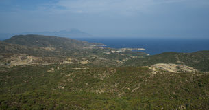 Allgemeine Ansicht über Ägäisches Meer und Mount Athos, Griechenland, Sithonia Stockfotografie