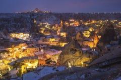 Allgemeine Ansicht des Cappadocia nachts Lizenzfreies Stockfoto