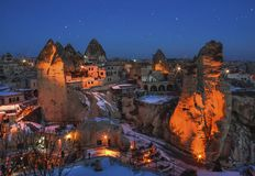 Allgemeine Ansicht des Cappadocia nachts Stockfotografie