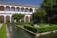 Allgemeine Ansicht des Generalife-Hofes, mit seinem berühmten founta Stockbilder