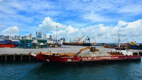 Allgemeine Ansicht des Hafens von Auckland - Neuseeland Lizenzfreies Stockfoto