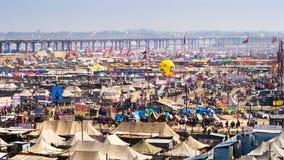 Allgemeine Ansicht von Kumbh Mela Festival in Allahabad, Indien lizenzfreie stockfotos