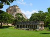 Allgemeine Ansicht von Uxmal in Mexiko lizenzfreie stockfotos