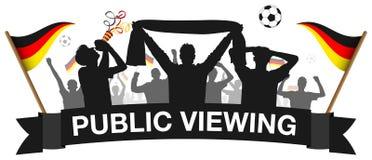 Allgemeine Betrachtung Fußballfanmengenschattenbild-Deutschlands lokalisierte Vektor lizenzfreie abbildung