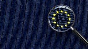 Allgemeine Daten-Schutz-Regelung - Betrachten von GDPR-Daten throug Stockfoto