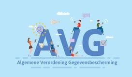 Allgemeine Daten-Schutz-Regelung in den Niederlanden Leute, die mobile Geräte und Internet-Geräte unter großem AVG verwenden Stockbilder