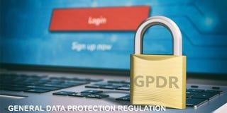 Allgemeine Daten-Schutz-Regelung EU GDPR auf einem Vorhängeschloß auf Computertastatur Abbildung 3D lizenzfreie abbildung