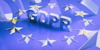 Allgemeine Daten-Schutz-Regelung EU GDPR auf Flagge der Europäischen Gemeinschaft Abbildung 3D vektor abbildung