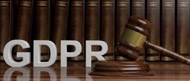 Allgemeine Daten-Schutz-Regelung EU GDPR und ein Richterhammer auf Gesetzbuchhintergrund Abbildung 3D stock abbildung