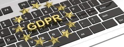 Allgemeine Daten-Schutz-Regelung EU GDPR- und EU-Sterne auf Computertastatur Abbildung 3D stock abbildung