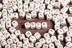 Allgemeine Daten-Schutz-Regelung GDPR, Buchstabe würfelt Wort Lizenzfreie Stockfotos