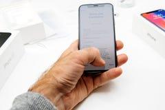 Allgemeine Geschäftsbedingungen des spätesten iPhone X 10 Lizenzfreies Stockfoto