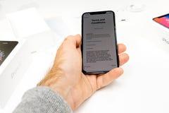 Allgemeine Geschäftsbedingungen des spätesten iPhone X 10 Stockfotografie