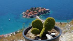 Allgemeine gute Ansicht von Sveti Stefan montenegro Kaktus stock video