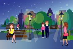 Allgemeine Nachtparkfrauenmann-Paarholzbank, die draußen grüne Rasenbäume Dame auf Stadtgebäudeschablone geht lizenzfreie abbildung