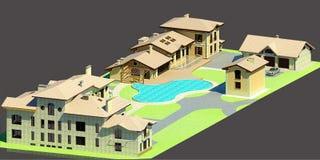allgemeiner Aufbau 3D eines großen Plans mit einigen Häusern vektor abbildung