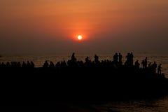 Allgemeiner Strand. Sonnenuntergang Stockfotografie