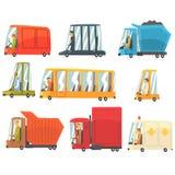 Allgemeiner und persönlicher Transport Toy Cars And Trucks Set von kindischen bunten Transportern vektor abbildung