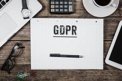 Allgemeines neues Gesetz der Daten-Schutz-Regelung GDPR im Jahre 2018, Offic Stockfotos