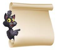 Allhelgonaafton Cat Scroll Royaltyfri Bild