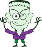 Allhelgonaafton Frankenstein som blinkar och gör ett reko tecken Royaltyfri Bild
