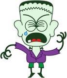 Allhelgonaafton Frankenstein som griper hårt om hans ögon och gråt Arkivfoto