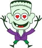 Allhelgonaafton Frankenstein som känner sig vanvettigt förälskad Arkivbild