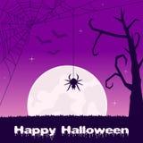 Allhelgonaafton med läskig spindelrengöringsduk och slagträn Fotografering för Bildbyråer