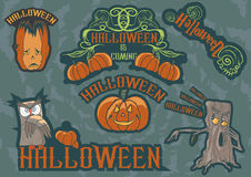 Allhelgonaafton Owl Labels Royaltyfri Illustrationer