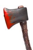 Allhelgonaafton - plast- yxa med blod - som isoleras på vit Arkivbild