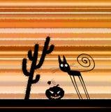 Allhelgonaafton Silhoette Cat Pumpkin Head Cactus Royaltyfri Foto