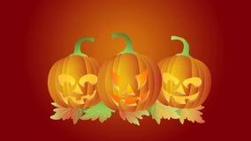 Allhelgonaafton som blinkar sned pumpor för stearinljusLit dans med Autumn Leaves på röd bakgrund stock illustrationer