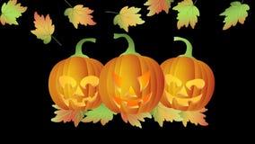 Allhelgonaafton som blinkar sned pumpor för Tealight stearinljus Lit med fallande Autumn Leaves royaltyfri illustrationer