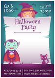 Allhelgonaaftonaffisch med små ungar i dräkter av häxan och vampyren med den svarta kattungen och kvasten Lyckligt allhelgonaafto stock illustrationer